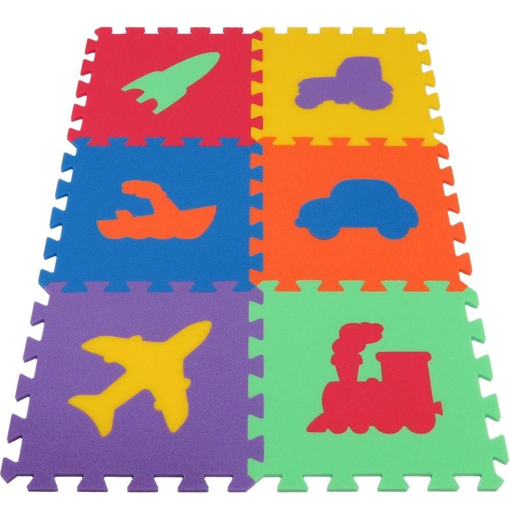 MALÝ GÉNIUS Pěnový koberec MAXI Dopravní prostředky, silný - 6 barev